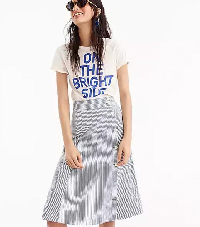 J.Crew Side-Button Skirt in Tahlia Stripe