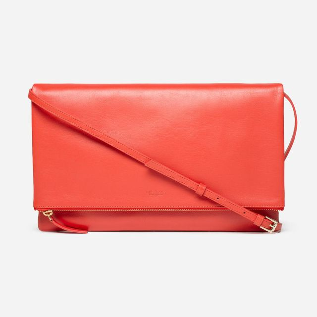 Women's Foldover Crossbody Leather Bag by Everlane in Bright Red