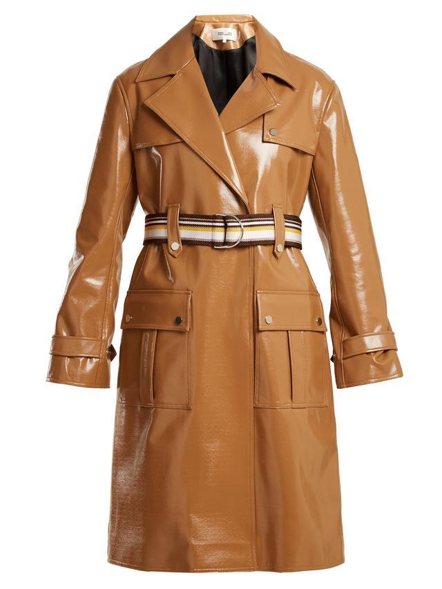 Contrast-belt vinyl trench coat