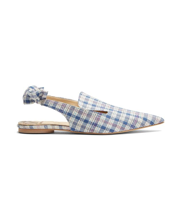 Point-toe checked slingback slipper shoes