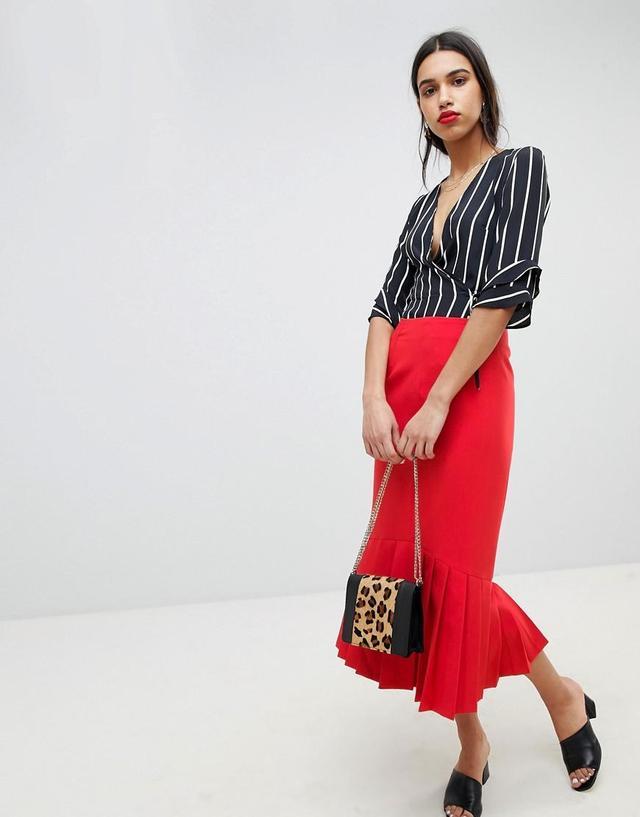 Midi Pencil Skirt With Pleated Hem