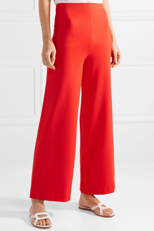 Rosetta Getty Cropped Stretch-Cady Wide-Leg Pants