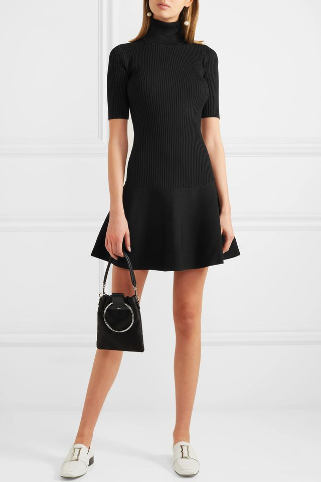 Michael Kors Ribbed Stretch-Knit Turtleneck Mini Dress