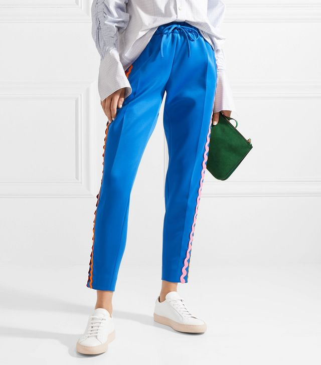 Rickrack-Trimmed Stretch-Cotton Jersey Track Pants