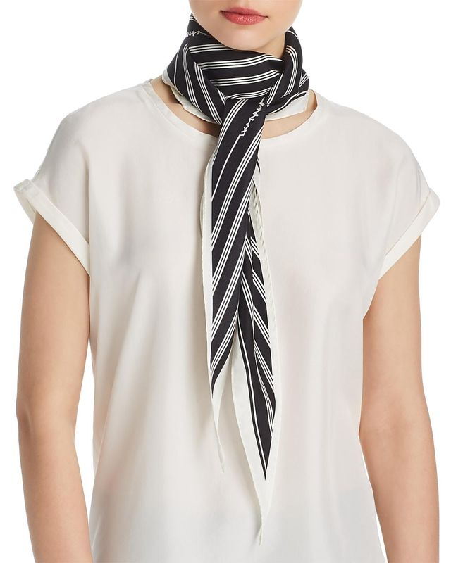 rag & bone Striped Silk Skinny Scarf