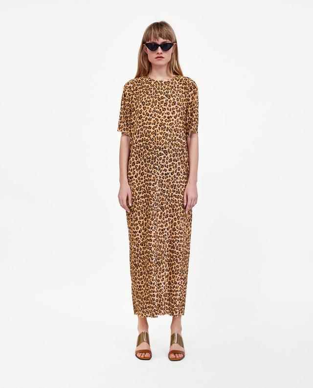 Zara Pleated Leopard Print Dress