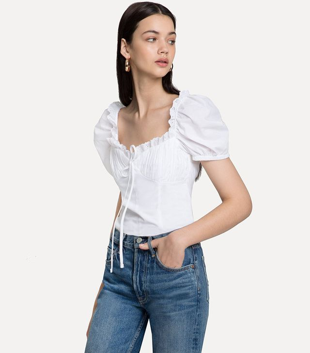 Pixie Market Bella White Frill Bustier Top