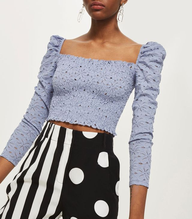 Daisy Lace Shirred Top
