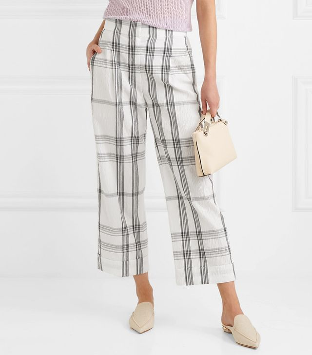 Checked Crinkled Cotton-blend Pants