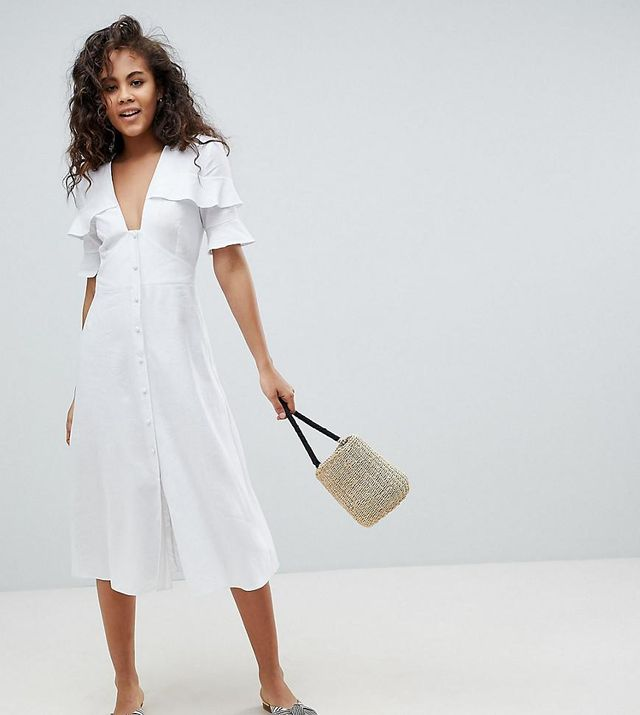 ASOS DESIGN Tall Plunge Button Through Casual Midi Tea Dress