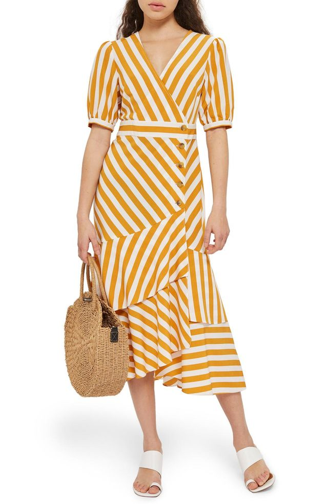 Cutabout Stripe Ruffle Midi Dress