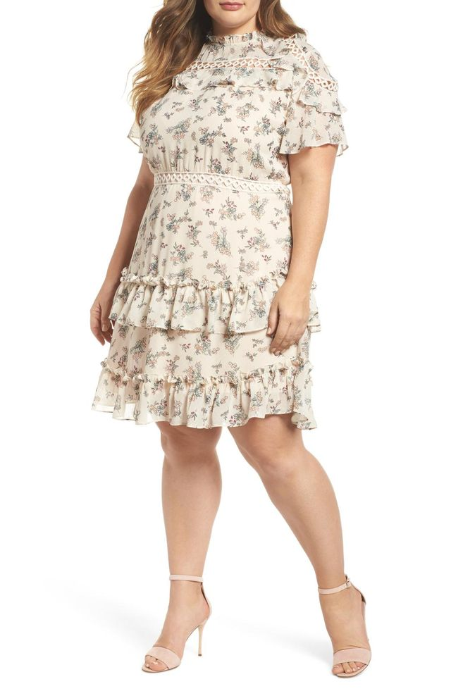 Plus Size Women's Glamorous Print Ruffle Dress