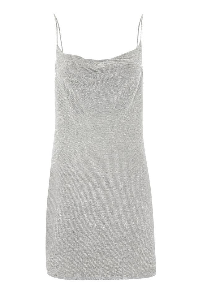 Topshop Metal Yarn Cowl Neck Slip Dress