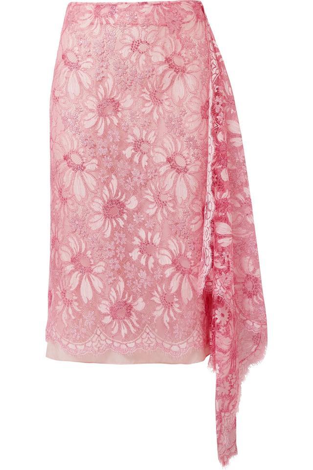 Calvin Klein Draped Metallic Lace Skirt