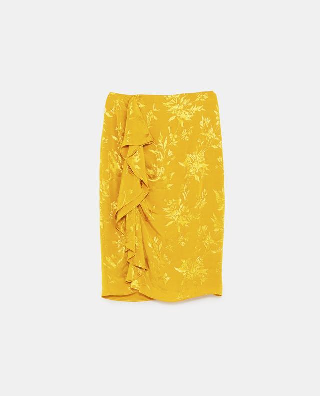 Zara Frilled Jacquard Skirt