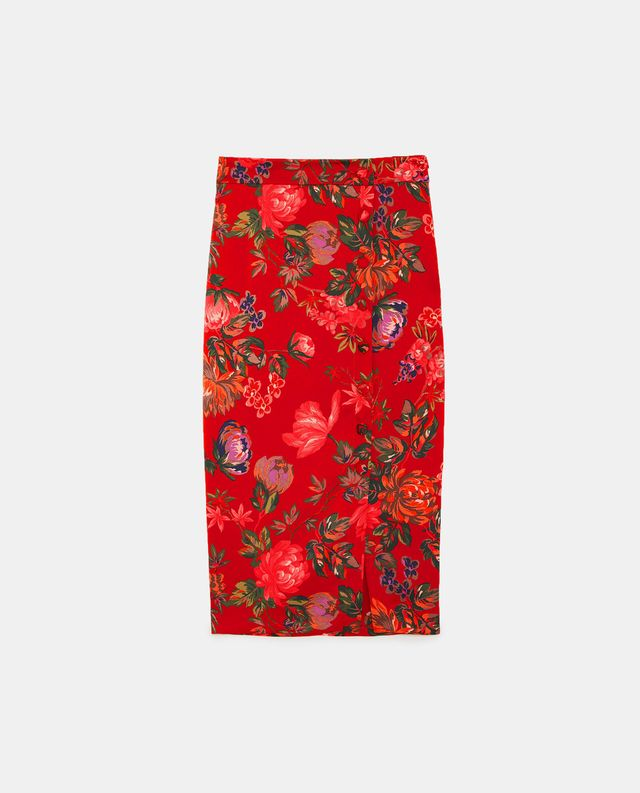 Zara Floral Print Pencil Skirt