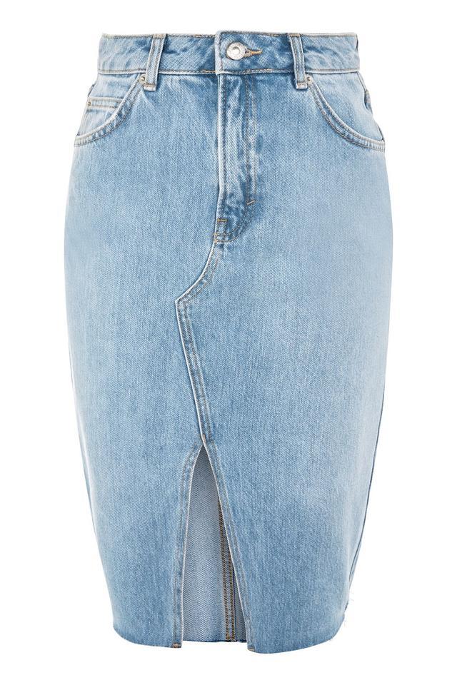 Topshop MOTO Denim Midi Skirt