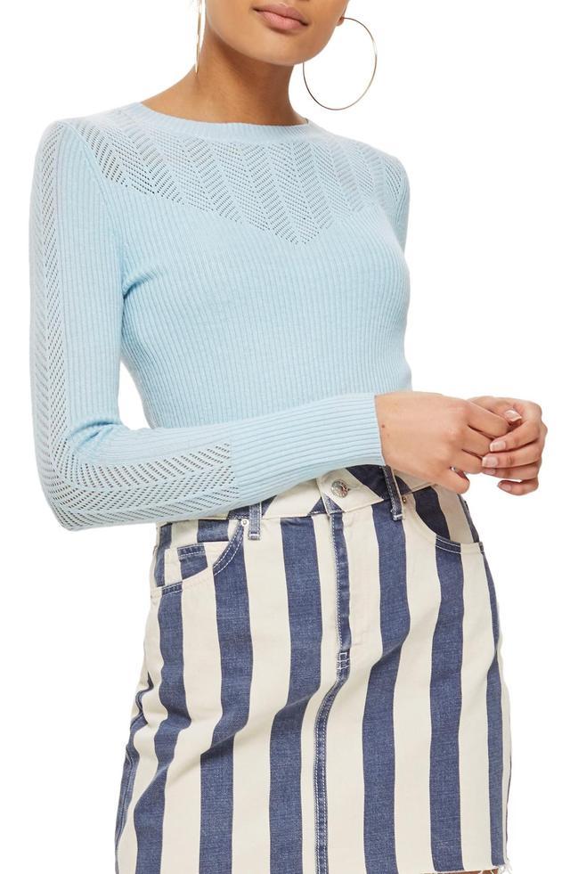 Yoke Pointelle Detail Sweater