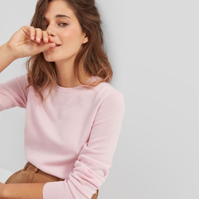 Cashmere Crew Sweater in Soft Pink