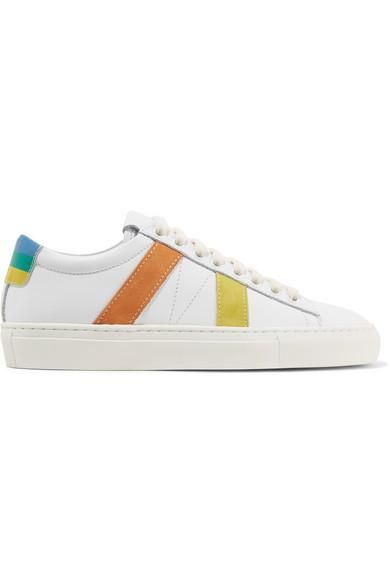 Striped Suede And Leather Sneakers