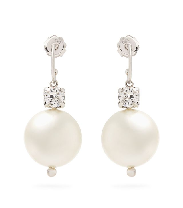 Faux-pearl and crystal drop earrings
