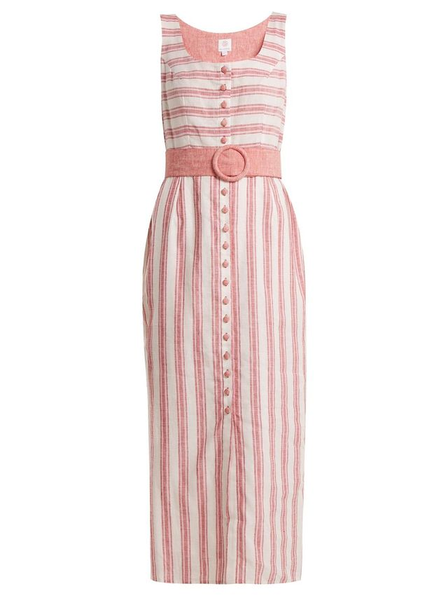 Belted Striped Linen-Blend Dress