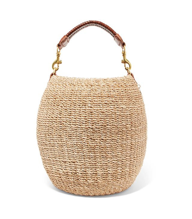 Clare V. Pot de Miel Leather-Trimmed Woven Abaca Straw Tote