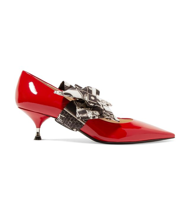 Printed Georgette-trimmed Patent-leather Pumps