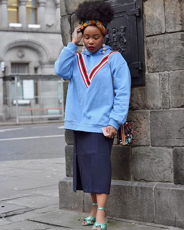 Pair an oversize hoodie with a pencil skirt to elevate your laid-back pieces.