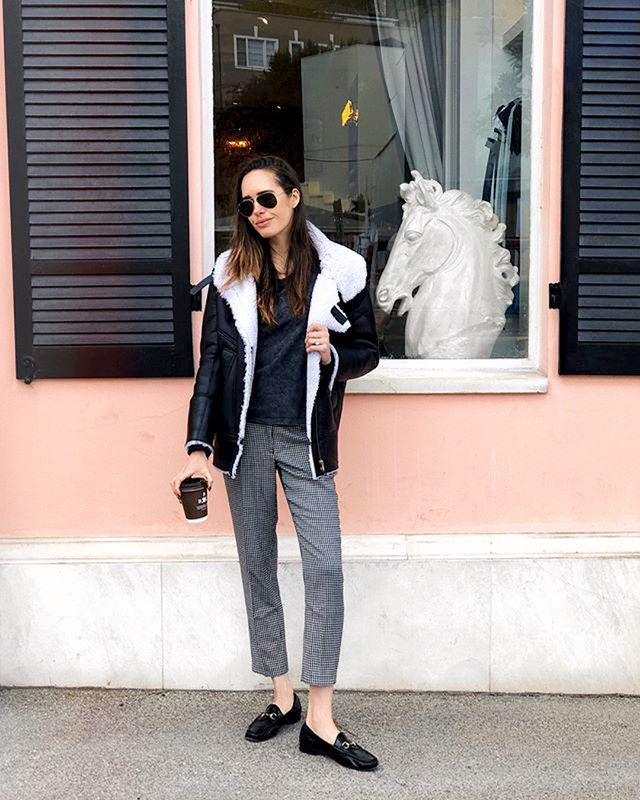 Take your workday trousers into the weekend by pairing them with an oversize tee, comfortable loafers, and your cosiest jacket.