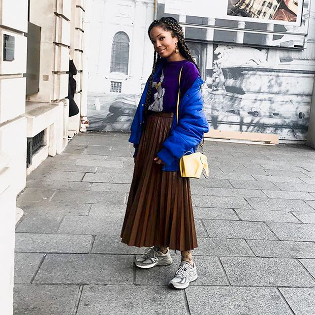The maxi skirt–and-sneaker combination is a favourite of ours.