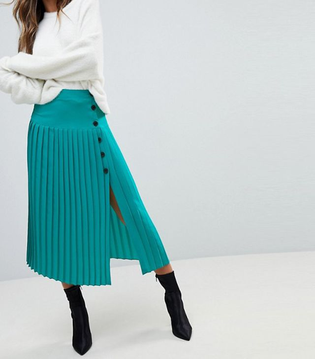 Pleated Midaxi Skirt with Side Button Detail