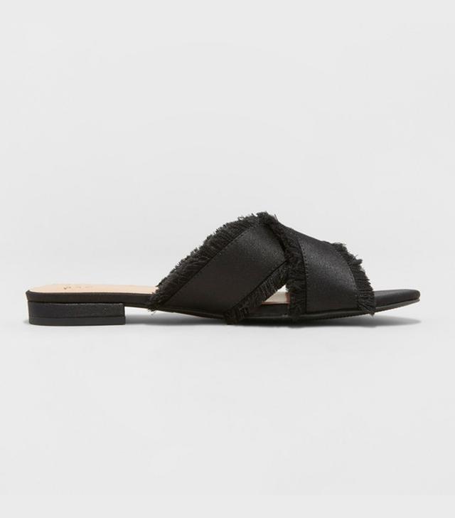 A New Day Sephorie Satin Frayed Crossband Slide Sandals