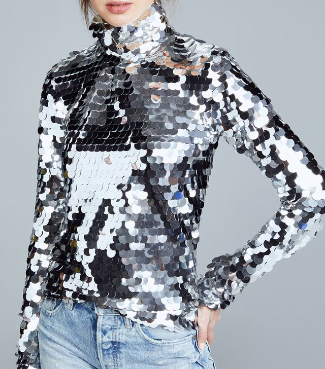 Silver Sequin Turtleneck