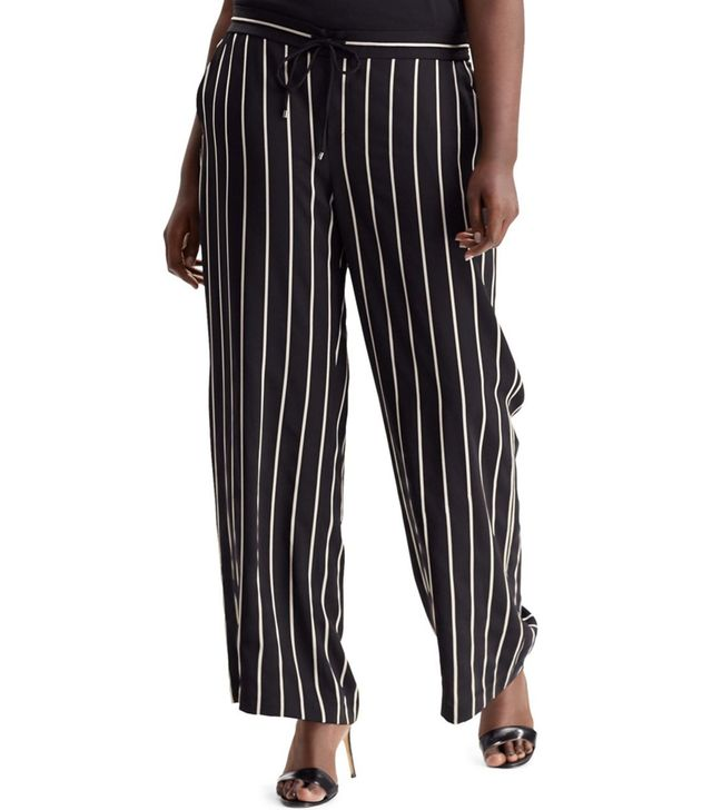 Lauren Ralph Lauren Plus Striped Mid-Rise Pants