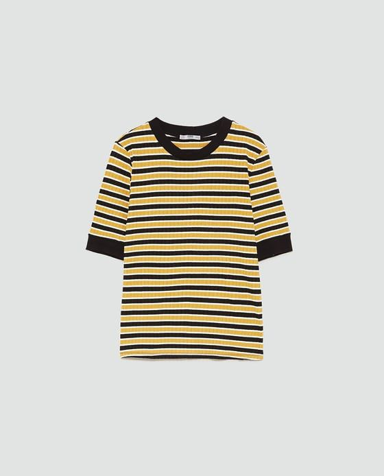 Zara T-Shirt With Contrasting Trims