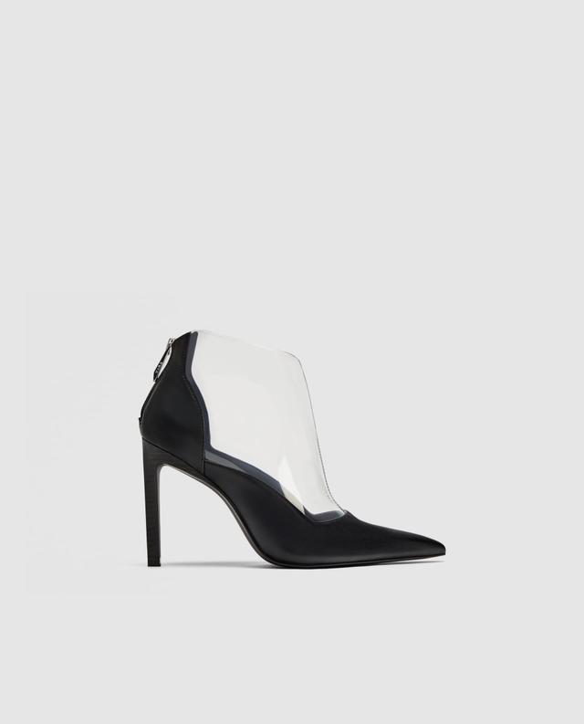 Zara Vinyl High Heel Ankle Boots