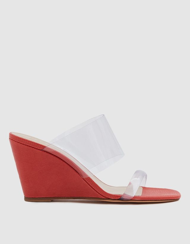 Maryam Nassir Zadeh Olympia Wedge in Red Faux Lizard