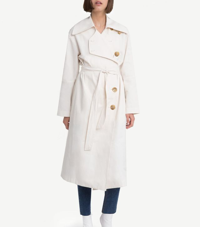 Pixie Market Ivory Belted Trench Coat