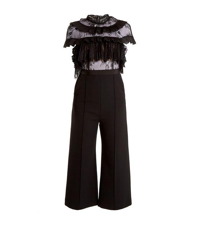 Ruffled-lace wide-leg cady jumpsuit