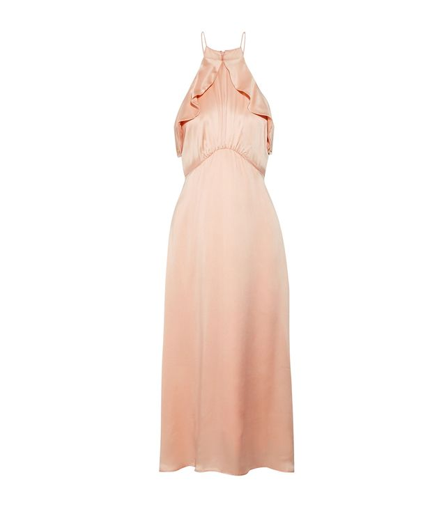 Ruffle-trimmed Washed-silk Midi Dress
