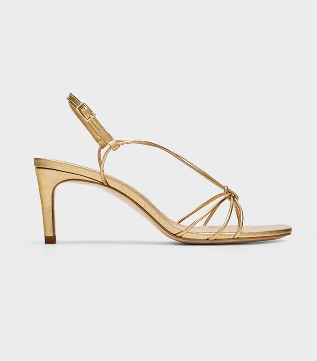 Zara Gold Leather High-Heel Sandals
