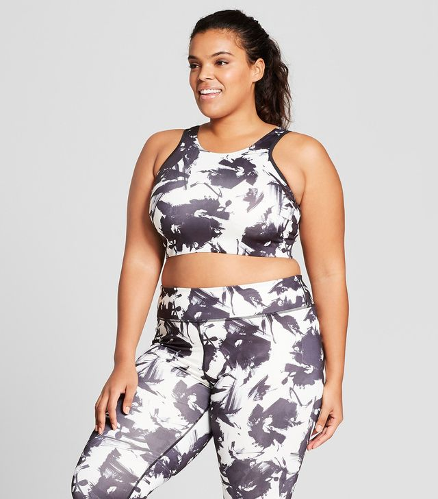 Plus Size Plus Floral Print High Neck Sports Bra With Back Cut Out