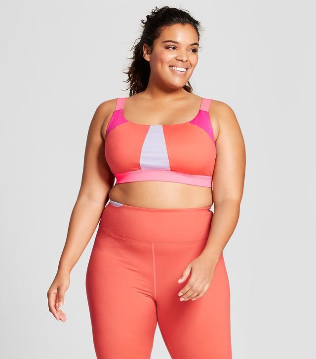 Plus Size Plus Color Block Sports Bra