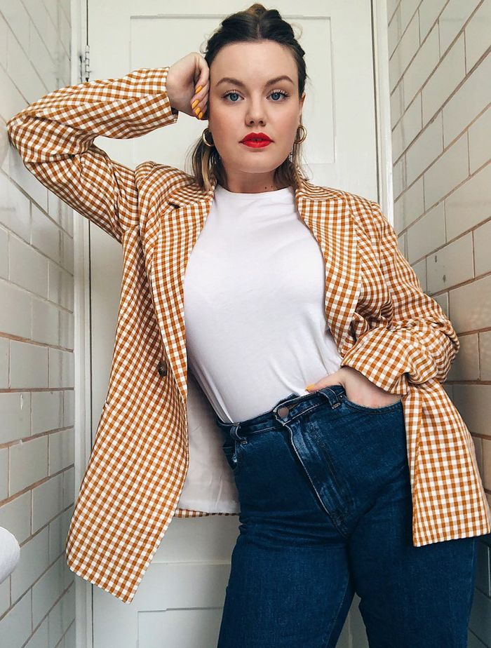 What to Wear in May: Lotte in a gingham blazer
