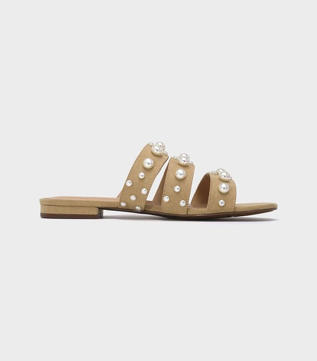 Clara Pearl Three Band Slide Sandals