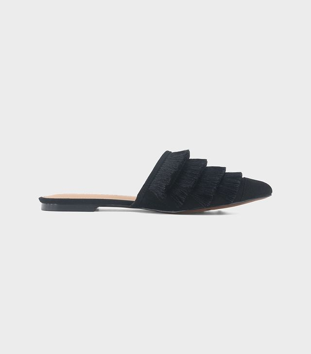 Annie Satin Tassle Pointed Mules