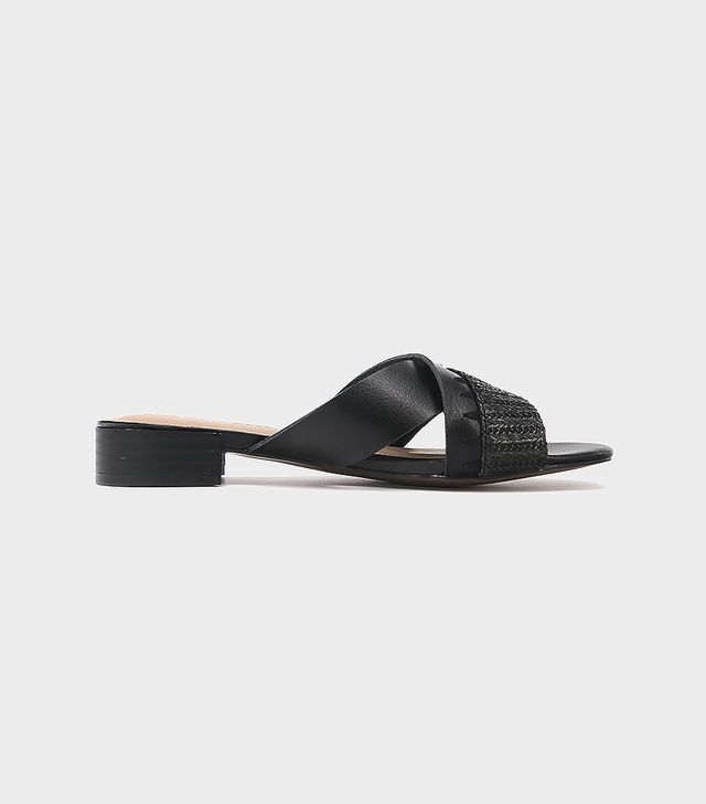 Stella Heeled Cross Band Slide Sandals