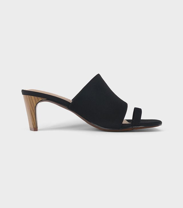 Ruth Toe Ring Wood Heeled Pumps