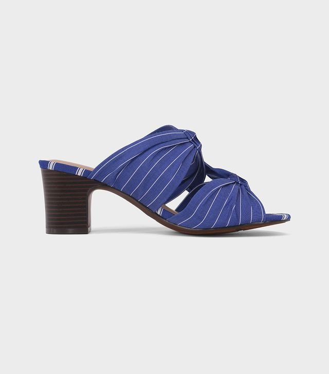 Poppy Striped Bow Two Band Heeled Pumps